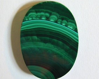 Malachite Buff Top Oval Cabochon 21X15 mm ~ Natural Banded Green Gemstone Cab