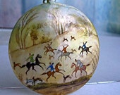 Oriental Persian Art Pendant, Colorful Hand Painted, Mother of Pearl Disc, Folklore Hunting Scene