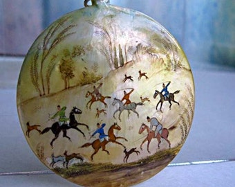 Persian Story Art Pendant, Hand Painted Large Mother of Pearl Disc, Oriental Folklore Hunting Group Scene