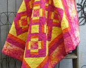 Girl Quilt - Baby Quilt - Wall Hanging - Lap Quilt - Batik in Pink, Orange and Yellow