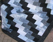 Lap Quilt, Sofa Quilt, Quilted Throw, Batik Quilt, - Rays of Gray