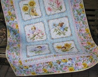 Baby Quilt - Baby Girl Quilt - Angel Babies Quilt with 3 matching Angel Bibs.