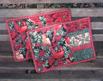 Quilted Snack Mats - Mug Rugs - Candle Mats - Hot Pads - Christmas Cardinals
