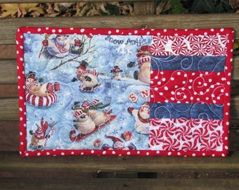 Quilted Snack Mats - Mug Rugs - Candle Mats - Hot Pads - Sledding Snowmen