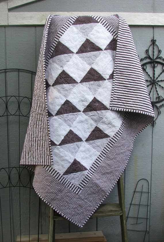 Baby Boy Quilt - Precious Brown and White