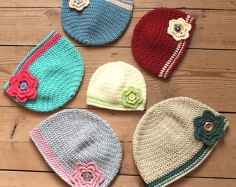 Flower Beanie Hat - Instant Download PDF Crochet Pattern