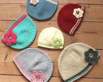 Flower Beanie Hat - Instant Download PDF Crochet Pattern