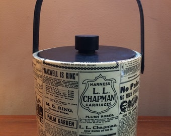 Newsprint typography graphic vintage 1960's ice bucket