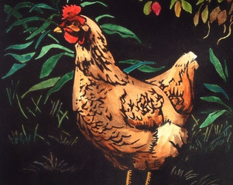 Linocut Print, Handcoloured, 'Penelope' the Hen, Made in Australia