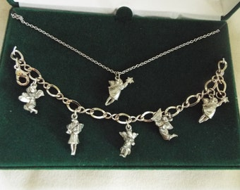 vintage pewter angel charm bracelet necklace set boxed angel jewelry demi parure