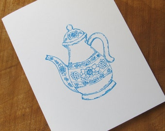 Set of 5 Hand Stamped Note Cards