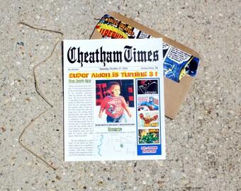 Superhero Newspaper Invitation | Superhero Invitation (Digital Invitation, Printed Invitations, DIY Invitations, Digital Invites)