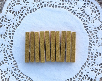 Set of 10 Gold Glitter Clothes Pins