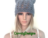 BUY1GET1HALFPrice Womens/teens Cat ears handmade crochet beanie beret hat,grey irish chunky,lace holiday gift,winter hat,animal novelty hat