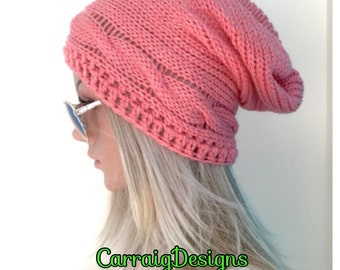 BUY1GET1HALFPRICE Cables unique designer womens/teens hand crocheted/knitted oversized slouch beanie snood hat,peach boho tam,winter accesso