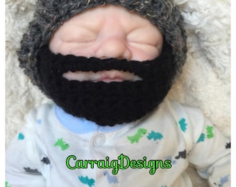 Baby boy crocheted,knitted hippie hippy,boho,slouch or fitted beanie,unique designer,kids newborn hats, shower gifts,beard,bearded