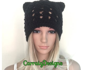 BUY1GET1HALFPrice Womens/teens Cat ears handmade crochet beanie beret hat,blackcirish chunky,lace holiday gift,winter hat,animal novelty hat