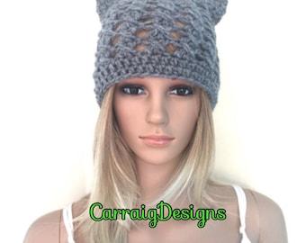 BUY1GET1HALFPrice Womens/teens Cat ears handmade crochet beanie beret hat,grey irish chunky,lace holiday gift,winter hat,animal novelty hat