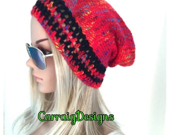 BUY1GET1HALFPrice unique designer womens/teens hand crocheted/knitted oversized slouch beanie snood hat,black,red rainbow,hippie boho.