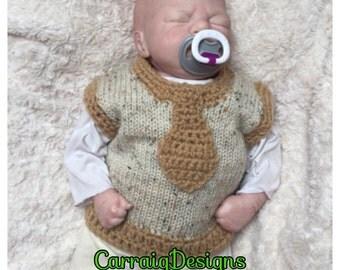 0-3 months Brown,cream Baby,boys,toddlers crochet knit sweater vest,tank, slipover jumper,Irish aran wool with tie applique,man boy newborn