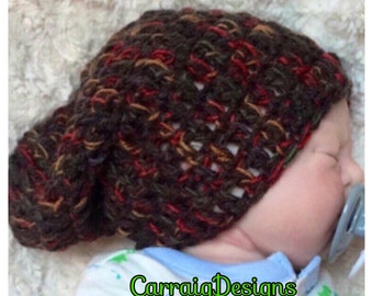 Baby boy,0-8yrs toddler crocheted,knitted hippie slouch or fitted beanie,brown unique designer,kids newborn hats, gifts.
