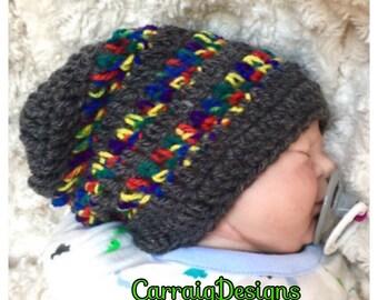 Baby boy 0-8yrs crocheted,knitted hippie hippy,boho,slouch or fitted beanie,dark grey rainbow,unique designer,kids newborn hats, shower gift