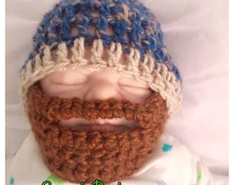 Baby boy beard brown blue crocheted,knitted hippie hippy,boho,fitted beanie,unique designer,kids newborn hats,shower gifts,beard,bearded cap