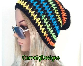 BUY1GET1HALFPrice unique designer womens/teens hand crocheted/knitted oversized slouch beanie snood hat,black,rainbow hippie boho,festival