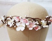 White pink cherry blossom flower floral hairpiece crown garland  - Wedding headpiece, headband bridal hair piece accessories vintage