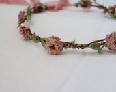 Woodland flower hair wreath (creamy pink  pom pom rose) - Wedding headpiece, headband, vintage rose crown, green leaves, pip berries