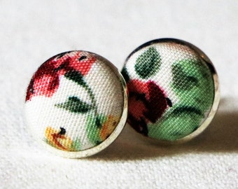 Floral fabric earrings flowers stud earrings gift unique funky button earrings silver