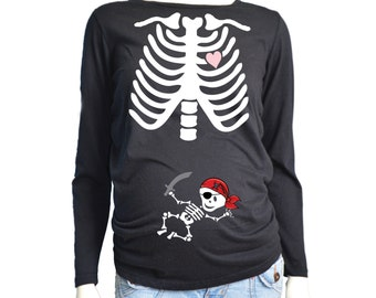 Halloween MATERNITY Skeleton Shirt Long Sleeve, Pirate Baby Halloween Costume Tshirt, Custom Pregnancy Shirt, Pregnancy Skeleton Shirt