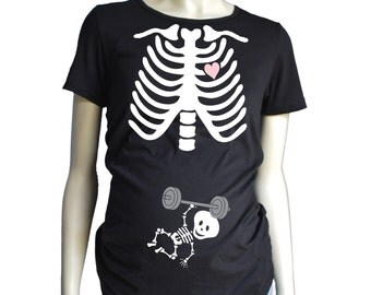 Skeleton MATERNITY Shirt Short Sleeve, Weight lifting Custom Pregnancy Shirt, Barbell, Over Head Squat, Kettle Bell Halloween Costume Tshirt