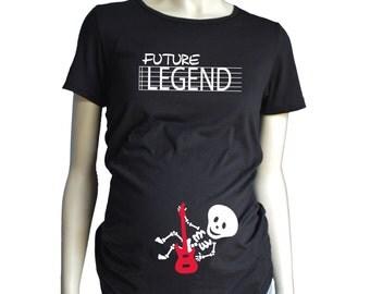 Halloween Skeleton MATERNITY Shirt Short Sleeve, Future Legend Guitar Baby Halloween Costume Tshirt, Custom Pregnancy Shirt