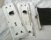 Antique door hardware chippy paint door mortise and lockplate hardware