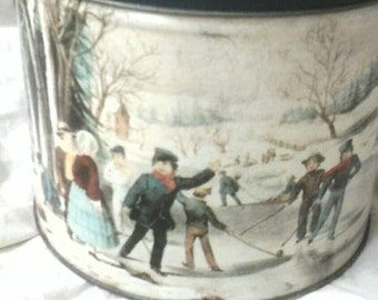Vintage tin winter holiday tin children at play