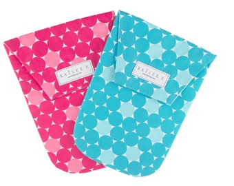 Big Multi Dots Diaper Pouch:  Fucshia & Turquoise