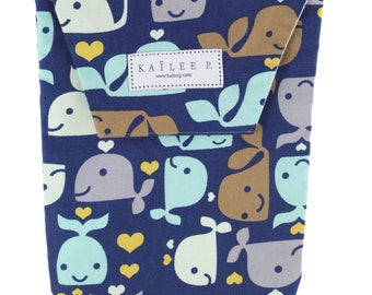 Navy Whales Dots Diaper Pouch