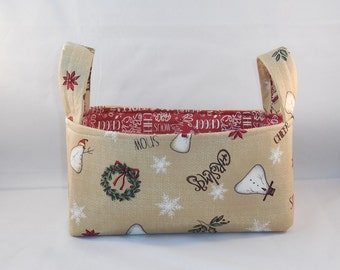 Christmas Fabric Basket With Handles