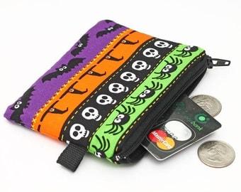 Little coin purse, zipper pouch, gift for kids, card case with zipper - Halloween bats, spiders, skulls, witches, ghosts, pumpkin, bats
