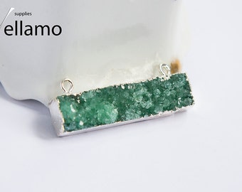 Natural onyx agate druzy connector, 40mm x 11mm x 8mm, light green rectangle designer geode agate druzy stone connector, jewelry supplies
