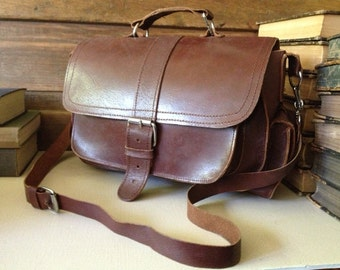Vintage Artisan Rustic Brown Leather Satchel Handbag ~ Mini Briefcase