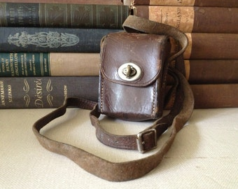 Leather Camera Lens Case Crossbody Rustic Brown