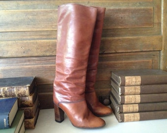Vintage Italy ~ Rustic Brown Tall Heeled Leather Riding Boots // Size 3 UK 5 US