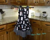 Vintage Inspired Apron / Black with vintage utensils Womens Full Size Apron / Retro Apron