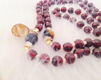 Garnet, Tiger Eye, Druzy and Brass 108 Bead Mala