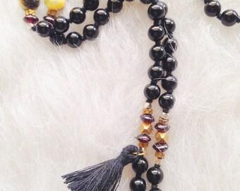 Black Onyx and Druzy 108 Bead Mala