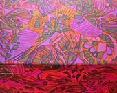 1960s Psychedelic Silk Fabric, Dress Length, Pink and Orange Tones - Vintage Dressmaking Fabric, 3.4 Metres/11.15 Feet Length