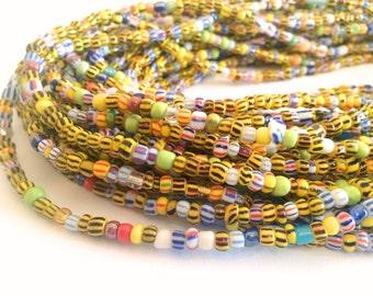 Striped African With High Gloss Beads Handmade Waist Bead *per one strand*