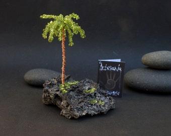 Natural Gemstone Peridot Olivine Canary Islands Palm Tree, Wire Gemstone Tree Sculpture